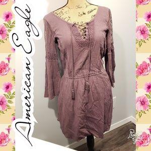 Xs American Eagle bell hippie purple boho dress